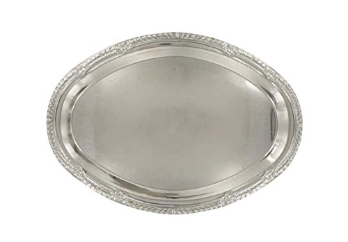 (Food & Dessert Nickel-Plated Oval Silver Serving Trays. Banquet Hors D'oeuvres Decorative Tray. Silver Wedding Dinner Party Platter. Charging Plates. Metal Banquet Serving Tray. (9x12))