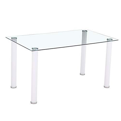 HomeSouth - Mesa de Comedor Blanca, Mesa de Cristal para Cocina, Medidas Mesa Moderna salon: 140x80 cm Ancho