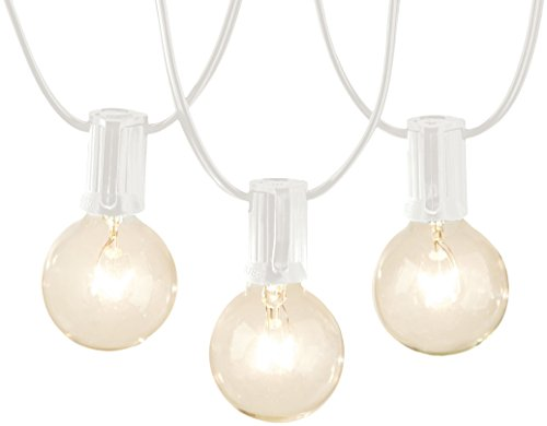 AmazonBasics Patio Lights, White, 25'