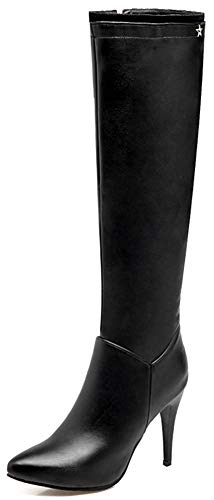Mofri Women's Sexy Pointed Toe Stiletto High Heels Side Zipper Knee High Boots (Black, 13 M US)