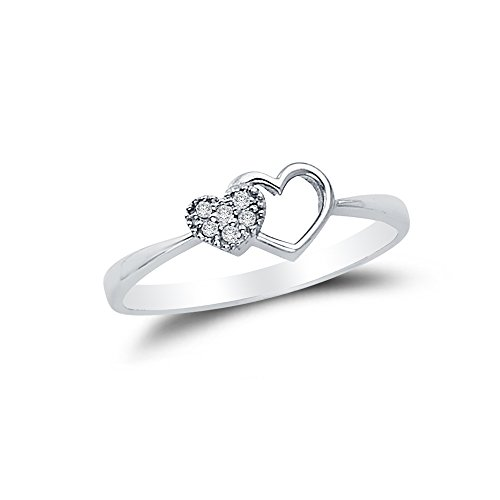 Size - 5.5 - Solid 14k White Gold Pave-Set Double Open Heart Design Right Hand Fashion Ring, CZ Cubic Zirconia ()