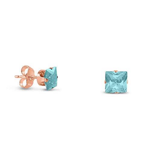 (Campton Rose Gold Plated Silver Earrings- Square Lt. Blue Aquamarine CZ~March Birthstone | Model ERRNGS - 14372 | 3mm - Small)