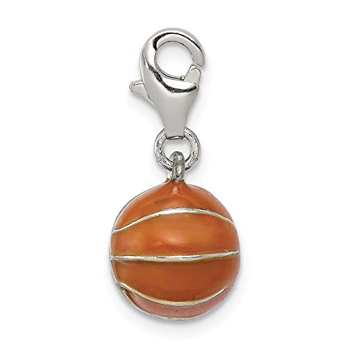 Sterling Silver 3D Enameled Basketball Charm