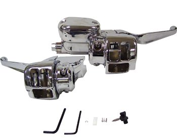 Hb controls w/switch housings spt 04/06 with dual disc brake 9/16''bore mc,chrome plated-by-V-FACTOR by V-Factor