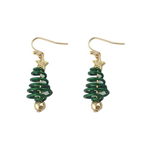Miaomiaogo 1 Pair Super Cute Women Christmas Tree Drop Earrings Girl Metal Star Earrings Holiday Party Ear Studs