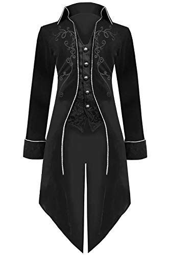 Mens Gothic Vampire Costumes - Medieval Steampunk Tailcoat Halloween Costumes for