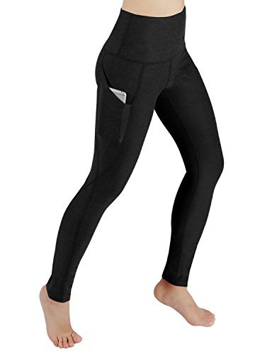 ODODOS High Waist Out Pocket Yoga Pants Tummy Control Workout Running 4 Way Stretch Yoga Leggings,Black,Large