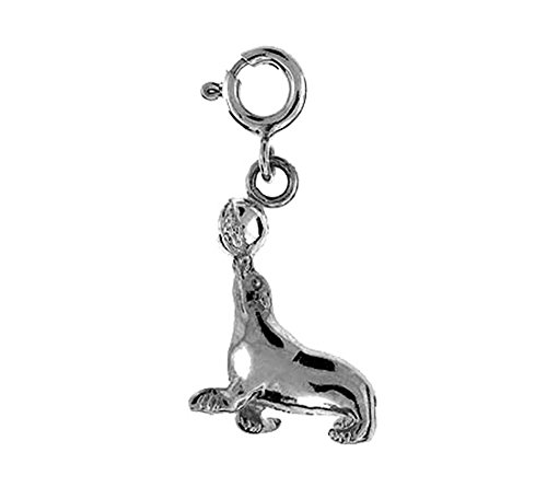 14K White Gold Seal With Ball Pendant - 23 mm