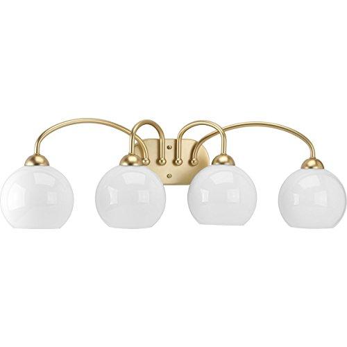Progress Lighting P300087-078 Carisa Collection Four-Light Bath & Vanity, Vintage Gold
