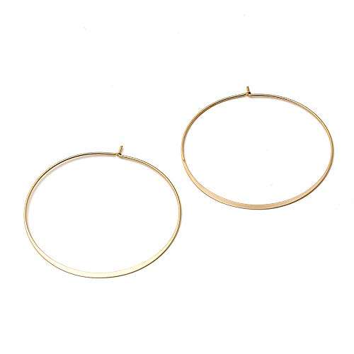 - Delice N Delight Basic Collection Brass Mette Gold Plating Round Hoop Earring