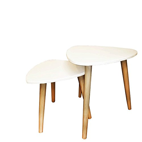 (Decor Hut Nesting End Table White with Wooden Legs Rubber Bottoms to Keep Floor from Scratching Easy Assembly Set of 2 )