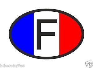 (MFX Design F France Country Code Oval with French Flag Bumper Sticker Decal Vinyl - Made in USA 4 in. x 3 in. )