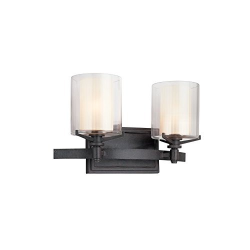 Troy Lighting Arcadia 2-Light Vanity - French Iron Finish with Clear Outer and Ribbed Provence Inner Glass ()