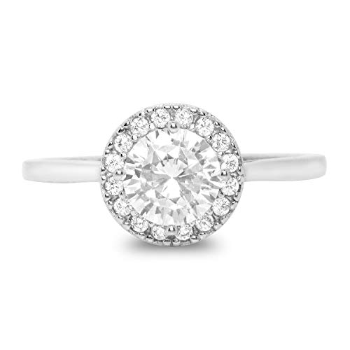 Realistic Simulated Diamond Antique Vintage Style Halo CZ Engagement Ring