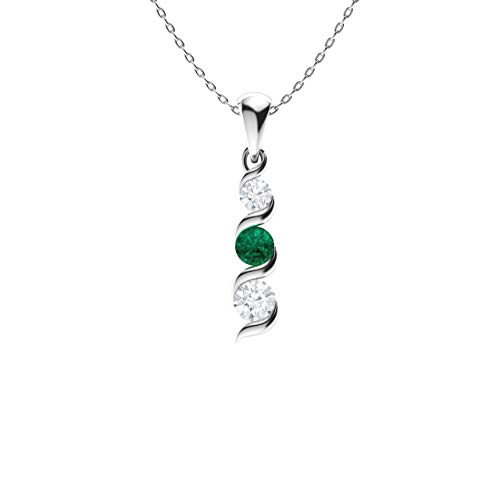Diamondere Natural and Certified Emerald and Diamond Three Stone Petite Necklace in 14k White Gold | 0.20 Carat Pendant with Chain ()