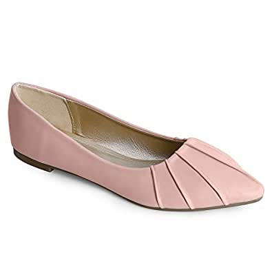 Trary Women's Pleated Pointed Toe Slip on Ballet Flat Shoes PU Soft Pink 05