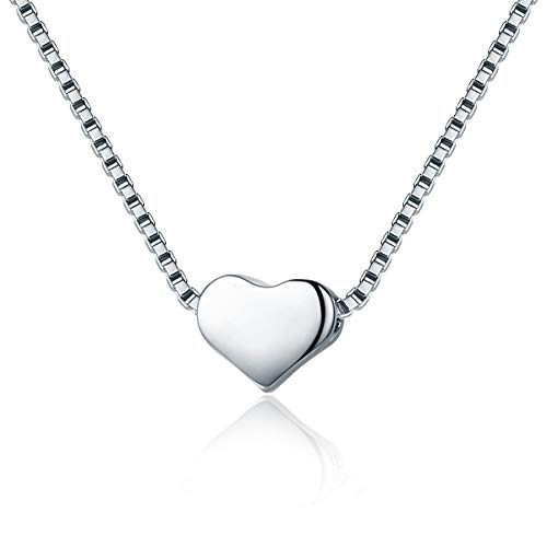 SIMPLOVE Women 925 Sterling Silver Tiny Dainty Love Heart Slide Pendants Necklace for Women Simple Chain with Elegant Gift Box