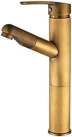 飲料水フィルタータップ片手引きシングルホールブラスバスルームバニティシンクの蛇口(色:真鍮、サイズ:フリーサイズ)
