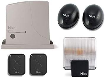 Nice ROX600 FULL KIT (motor ROX600 + 2 X FLO2RE transmisores + BF par de fotocélulas + ELAC 230V Luz intermitente) para el accionamiento de puertas correderas de hasta 600 kg