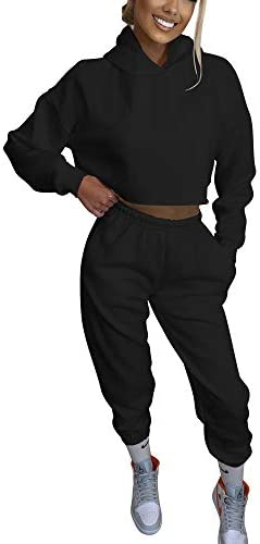 BORIFLORS Women's 2 Piece Outfits Causal Hoodie Sweatshirt and Long Pants Jogger Tracksuit Sweatpants