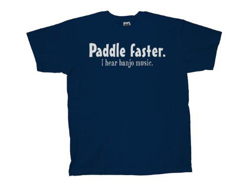 (Paddle Faster I Hear Banjo Music T-Shirt Funny-Nb-2X Navy Blue )