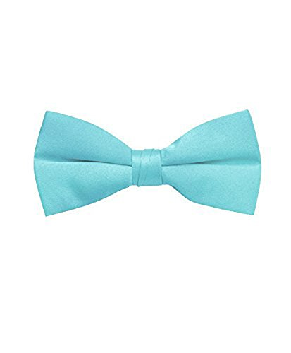 Men's Solid Banded Bow Ties (Turquoise)