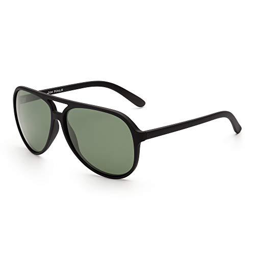 JIM HALO Polarized Aviator Sunglasses Men Women Oversize Plastic Driving Glasses (Matte Black Frame/Polarized Green Lens)