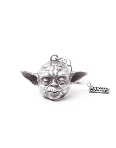Bioworld Star Wars Yoda 3D Pendant Metal Keychain, One Size, Silver (Ke150704Stw) Keyring, 16 cm, Multi