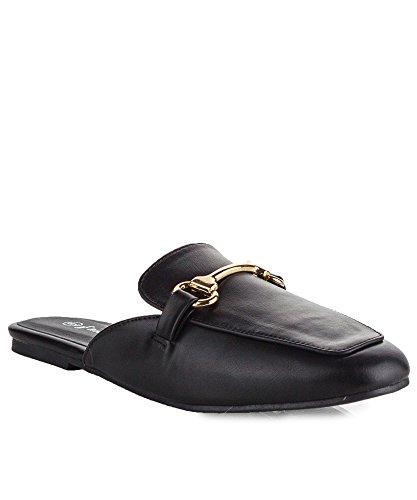 ROF+Women%27s+Fashion+Square+Toe+Horsebit+Mule+Slip+On+Loafer+Slides+Flats+-+EA01+BLACK+%2810%29
