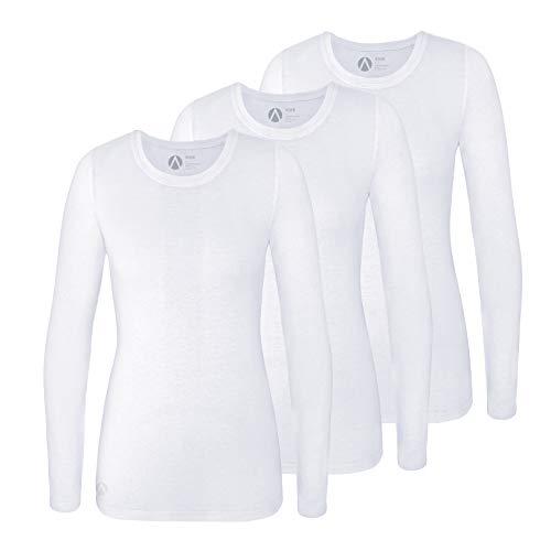 Adar Underscrub Tee 3 Pack for Women - Long Sleeve Fitted Underscrubs - A53003 - White - XL