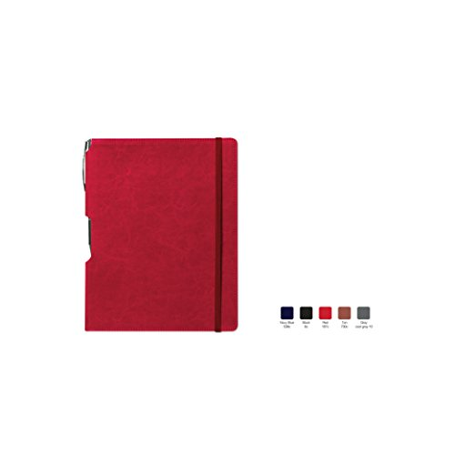 RHYTHM Ruled, Hardcover Executive Notebook Journal with Premium Paper, 192 Lined Pages, Bookmark ribbon, Gusseted back pocket, Red Cover, Size 5.75
