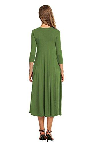 Bincout Femmes Meerore Une Ligne Longue Oscillation Sleeveloose Maxi Casual Vert Armée Robe Longue