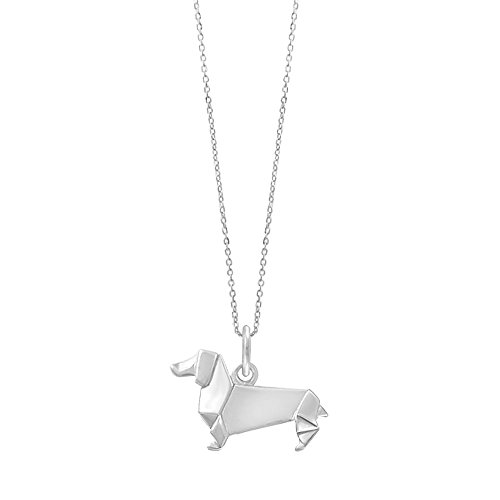 Dachshund Necklace Dog - Boma Jewelry Sterling Silver Origami Dachshund Wiener Dog Necklace, 18 Inches