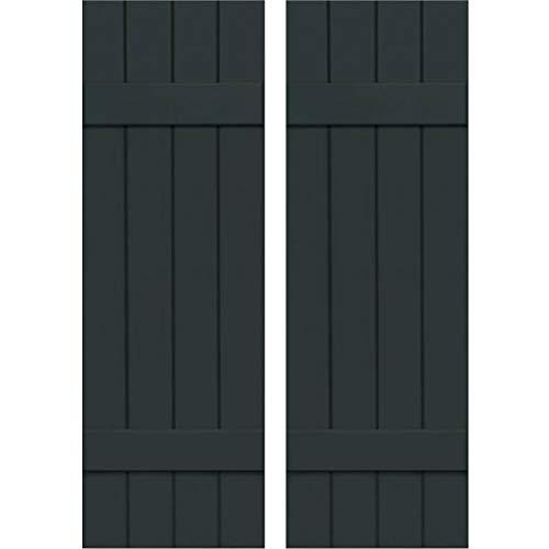 (Ekena Millwork CWB15X057DGC Exterior Four Board Composite Wood Board-N-Batten Shutters with Installation Brackets (Per Pair), Dark Green, 15