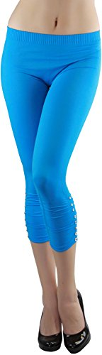 ToBeInStyle Women's Rhinestone Accent Ruched Capri Leggings - Blue - One Size: Regular Accent Leggings