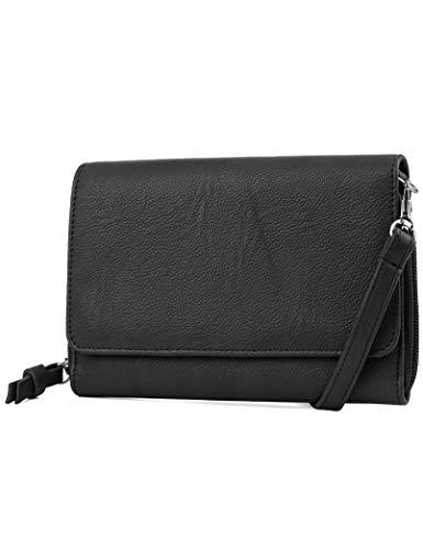 Mundi RFID Crossbody Bag For Women Anti Theft Travel Purse Handbag Wallet Vegan Leather ((Black))