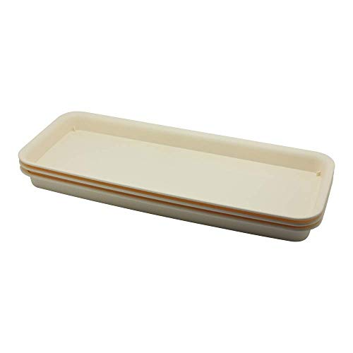 BangQiao 18 Inch Plastic Rectangular Planter Pot Saucer Tray for Indoor and Outdoor Plants, Pack of 3, Beige