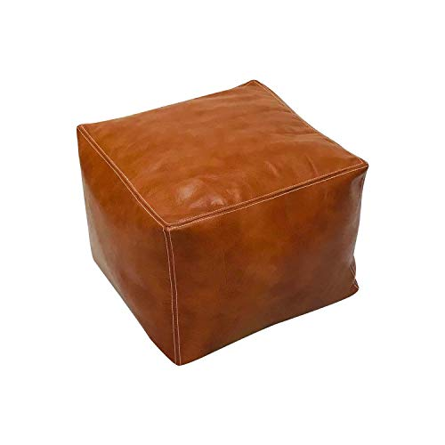 "Magus Designs Genuine tan Leather Square Unfilled Moroccan Pouf Pouffe, Footstool 17.7"" x 17.7"" - Square Floor Cushion Footstool for Living Room, Bedroom and Under Desk"