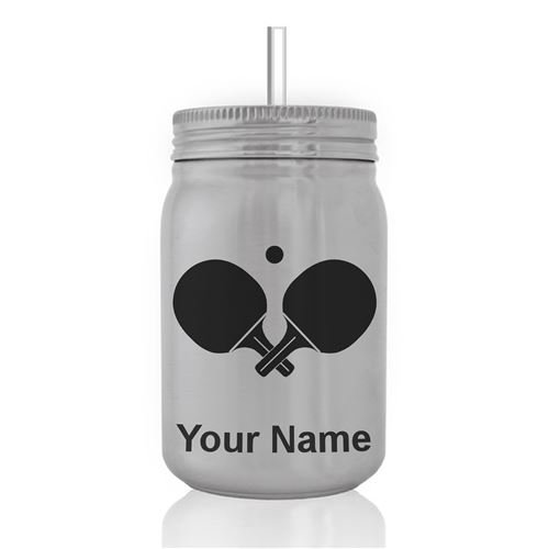 Mason Jar Sports Bottle - Ping Pong Paddles - Personalized Engraving Included by SkunkWerkz