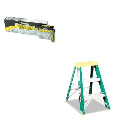 624 Folding Fiberglass Step Stool - KITDADL321202EVEEN91 - Value Kit - #624 Folding Fiberglass amp; Aluminum 2 Step Stool, Locking, 17w x 22 spread x 24h (DADL321202) and Energizer Industrial Alkaline Batteries (EVEEN91)