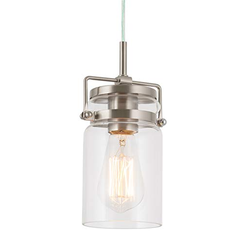 Kira Home Wyer 8 Modern Industrial Pendant Light + Mini Clear Glass Cylinder Shade, Dimmable Adjustable Wire, Brushed Nickel Finish