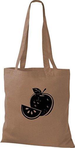 ShirtInStyle Bolso de tela Bolsa de algodón Tu Favorita frutas y hortalizas manzana - Fucsia, 38 cm x 42 cm Marrón Claro