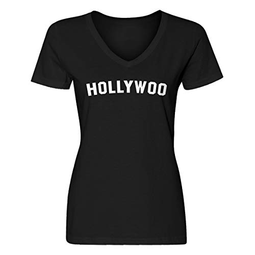 Indica Plateau Vneck Hollywoo Medium Black Womens T-Shirt