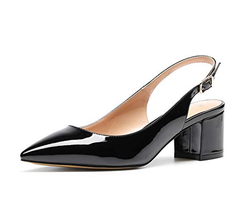 CASTAMERE Women's Slingback Mid Block Heel Pumps Slip-on Pointy Toe Chunky Heels 5CM Heeled Sandals Patent Black Pump 11 M ()