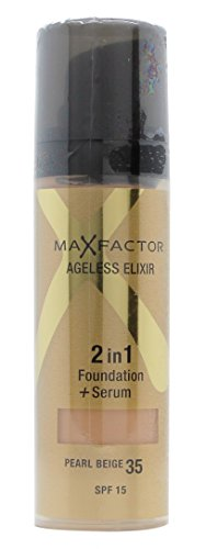 Max Factor Ageless Elixir 2 in 1 Foundation Plus Serum SPF 15, No.35 Pearl Beige, 1 - Spf Foundation 30 Pearl