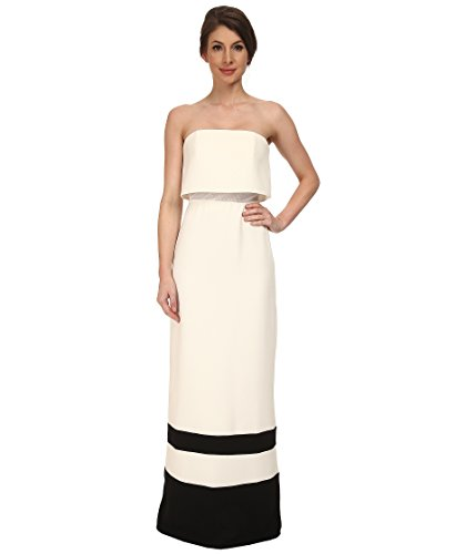 ABS Allen Schwartz Women's Strapless Gown w/Stripe Hem Cream Dress 12