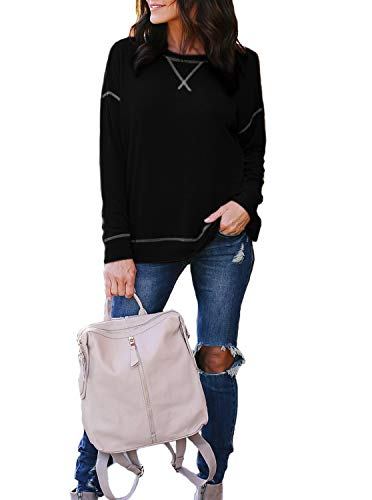 Adreamly Womens Fall Long Sleeve Crossover Loose Casual Pullover Tunic Tops
