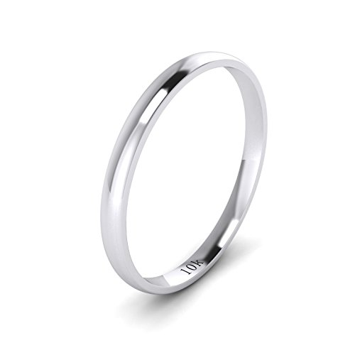 (Unisex 10k White Gold 2mm Light Court Shape Comfort Fit Polished Wedding Ring Plain Band (10.5))