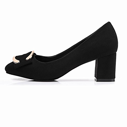 Pumps Latasa Womens Square Faux Suede Black Toe Latasa Chunky Womens 844Hx