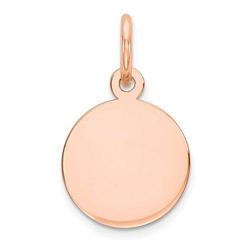 Charm Disc Engravable (Noble Collections 14k Rose Gold Plain .009 Gauge Circular Engravable Disc Charm)